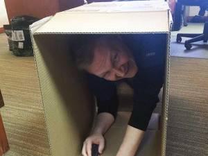 Derek putting boxes together