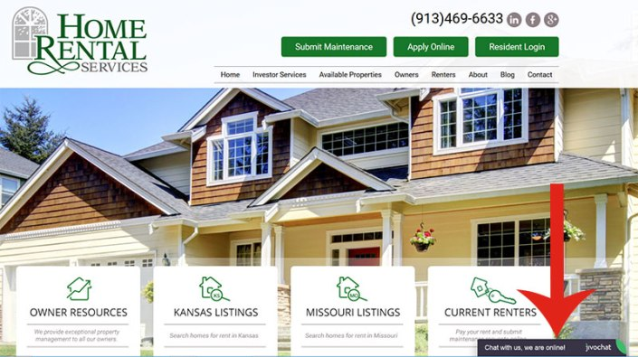 JivoChat: Home Rental Services Home Page